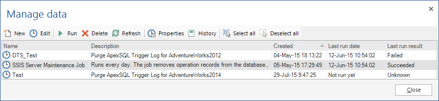 Manage audit data dialog