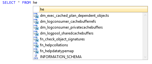 SSMS provides quite a shorter list for the same query.
