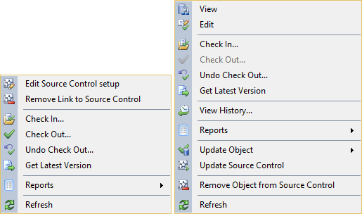 ApexSQL Source Control is easily accessible via the SSMS main menu or the SSMS Object Explorer contextual menu