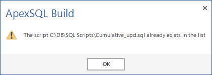 ApexSQL Build recognizes duplicate SQL scripts