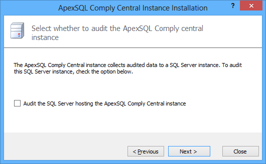 Selecting whether to audit ApexSQL Audit Central Instance