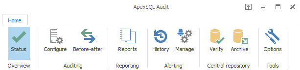Archive database option in the ApexSQL Audit menu