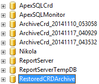 Restored_Archive database appears on the SQL Server instance