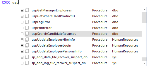 Auto-complete list for EXEC kwd with all available functions and stored procedures