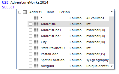 Content of the ApexSQL Complete auto–complete feature hint-list