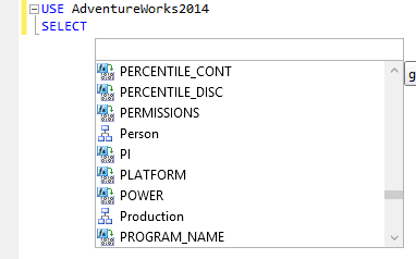 Content of the SSMS IntelliSense hint-list 1