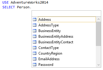 Content of the SSMS IntelliSense hint-list 2