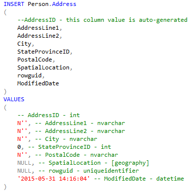 ApexSQL Complete will do the rest, based on a predefined template for the INSERT statement