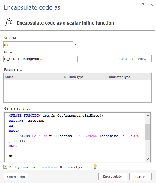 Choosing the Encapsulate as option and the Scalar Inline Function option from the submenu of ApexSQL Refactor
