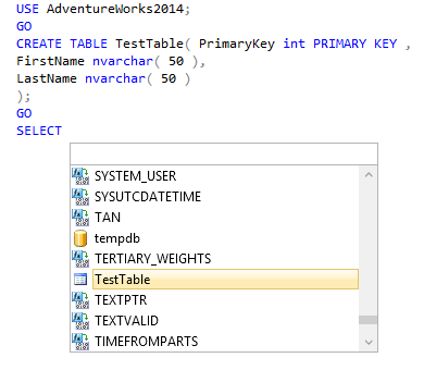 SSMS intellisense pick-list after typing SELECT
