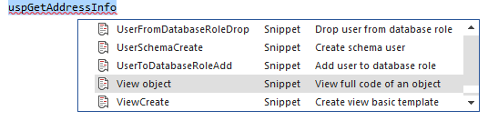 Selecting the snippet from the drop-down list