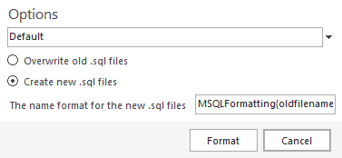 Using the The name format for the new .sql files option