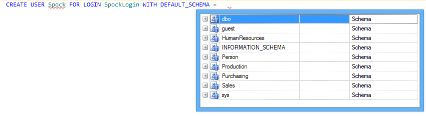 Hint-list of available schemas is prompted after pressing Tab or Space key
