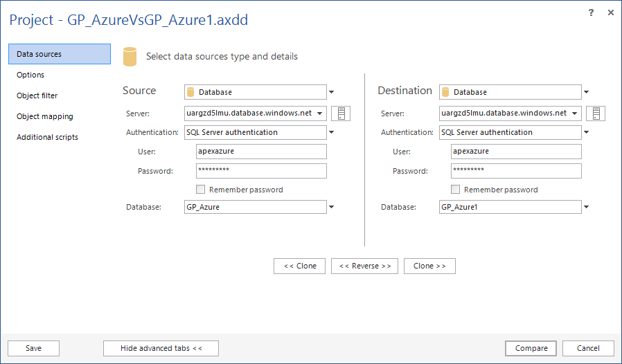 Selecting SQL Azure database to compare in ApexSQL Diff