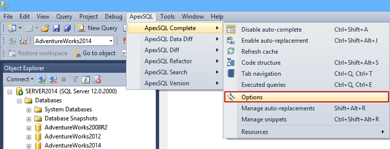 Selecting Complete options in ApexSQL Complete submenu