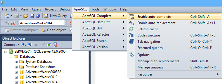 Enabling the SQL Auto-complete feature
