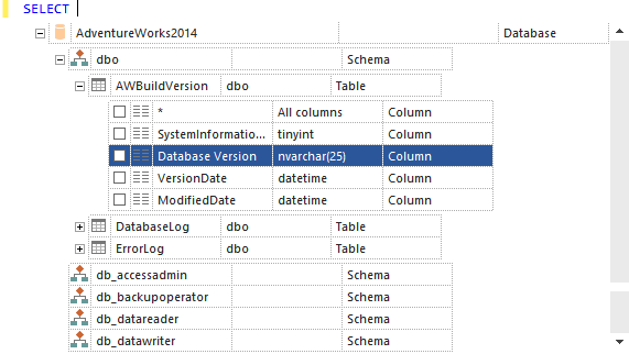 ApexSQL Complete hint-list provides easy navigation from database, over schema, and more