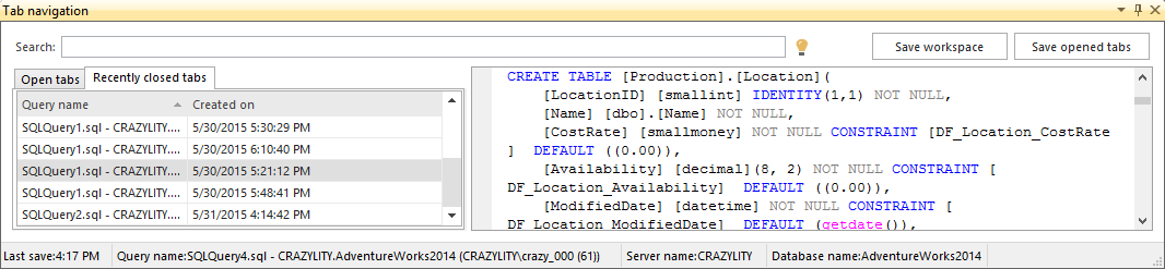 Dialog showing Recently closed tabs in the ApexSQL tab navigation