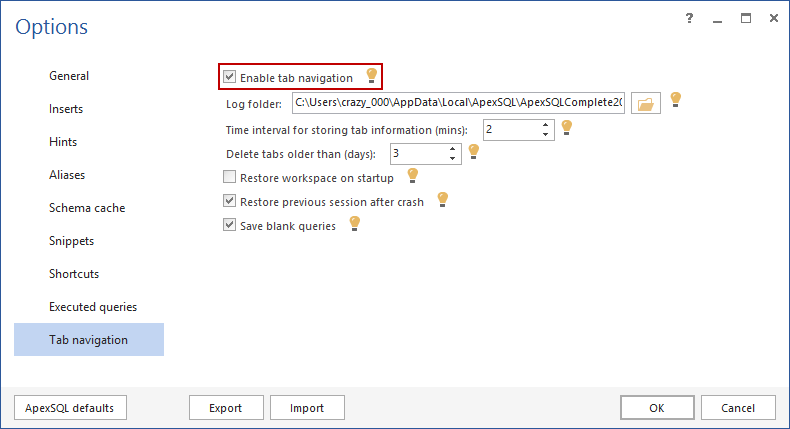 Enabling Tab Navigation from the ApexSQL Complete Options