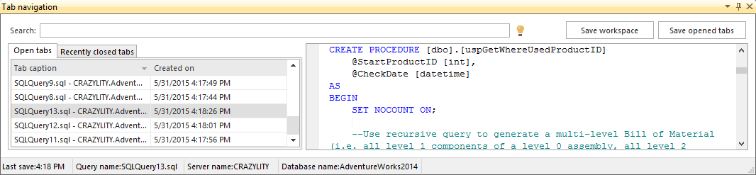 Dialog showing Currently opened tabs in the ApexSQL tab navigation