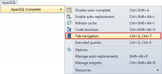 Tab Navigation is displayed as a pane below the query window in SSMS