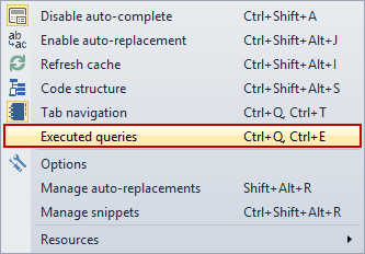 Choosing the Executed queries command in ApexSQL Complete menu