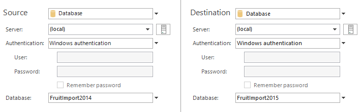 Select source and destination databases