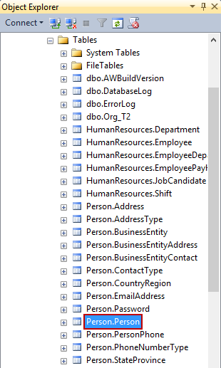 Selected object is located and highlighted in the Object Explorer pane