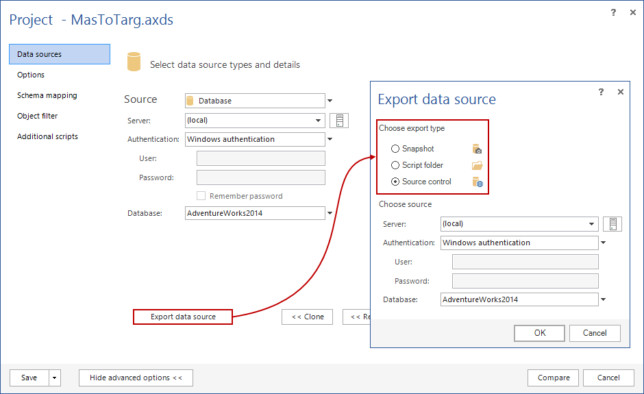 Export data source dialog