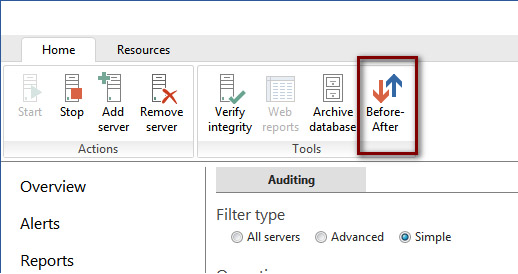 Before-after functionality can be accessed by using the ApexSQL Audit toolbar button