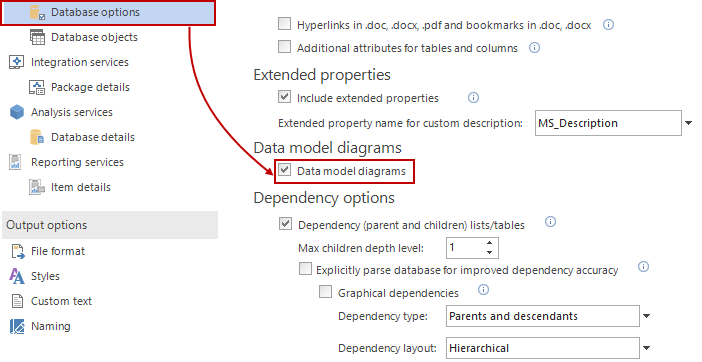 Make sure Data model diagrams checkbox from Database options tab is checked