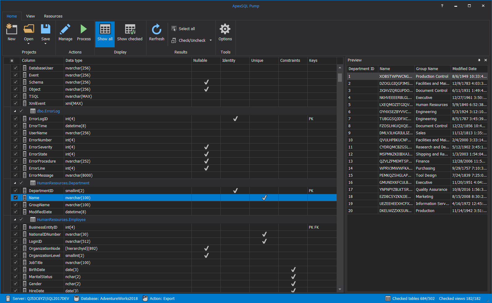 ApexSQL Pump Export main grid with all shown SQL objects