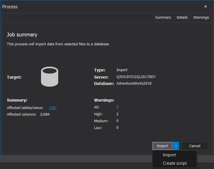 ApexSQL Pump Job summary before importing data