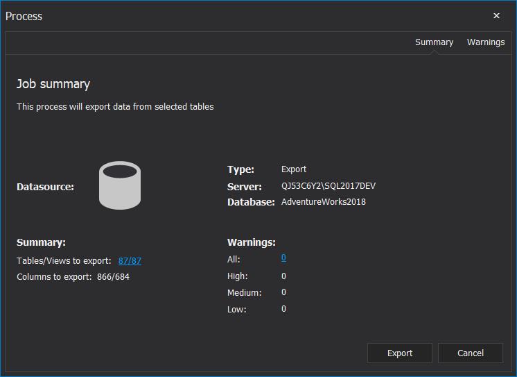 ApexSQL Pump Job summary window before exporting