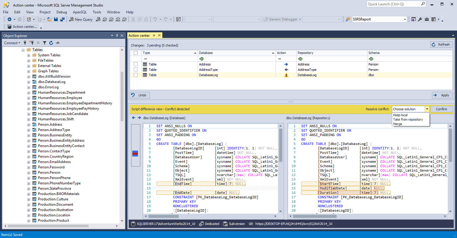 Integrate source control with SQL Server database development