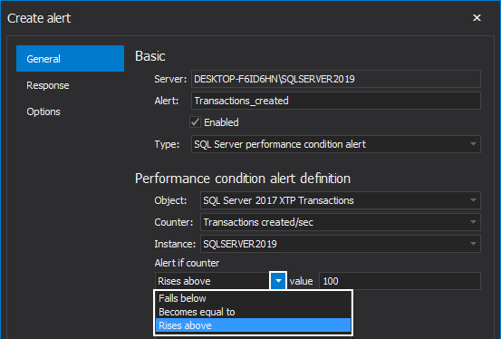 """Alert if counter"" selection for SQL Server performance condition alert"