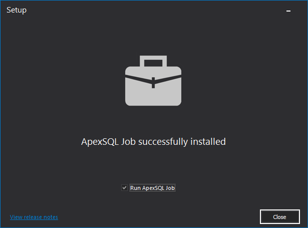 ApexSQL Job successfully installed