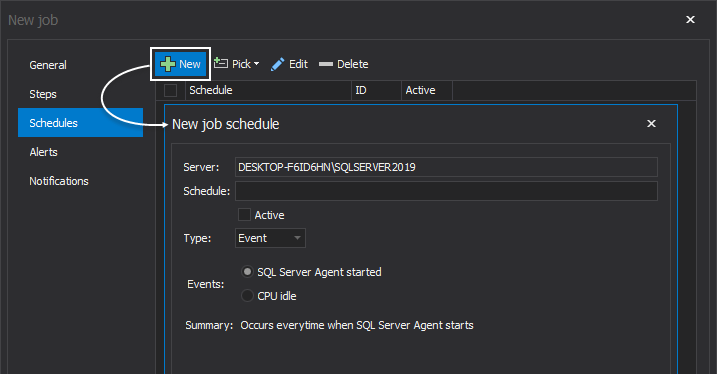 Create new job schedule within the ApexSQL Job tool
