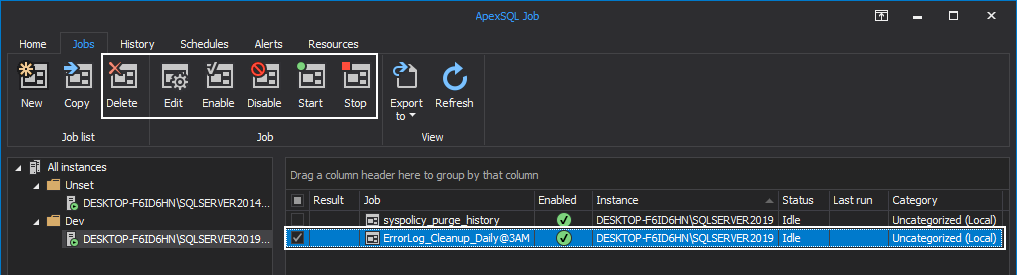 Delete, Edit, Enable, Disable, Start or Stop job in ApexSQL Job tool