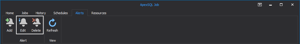 Edit or Delete SQL Server Agent job alerts in ApexSQL Job tool