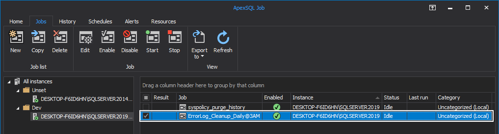 Newly created job overview within the Jobs tab of the ApexSQL Job
