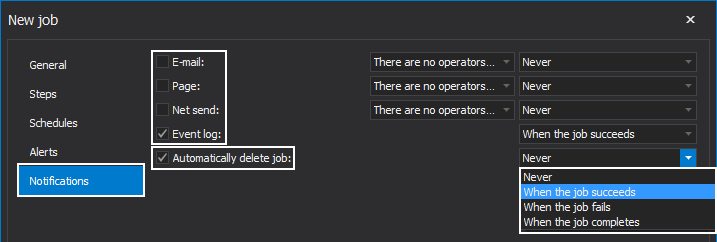 "Notifications configuration settings in the ""New job"" window within ApexSQL Job tool"