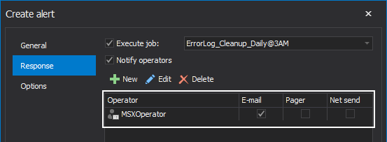 "Operator overview in operators list within Response tab of the ""Create alert"" window"
