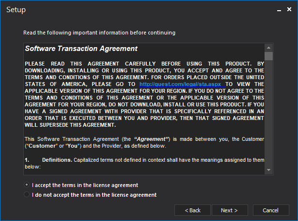 Software Transaction Agreement setup step