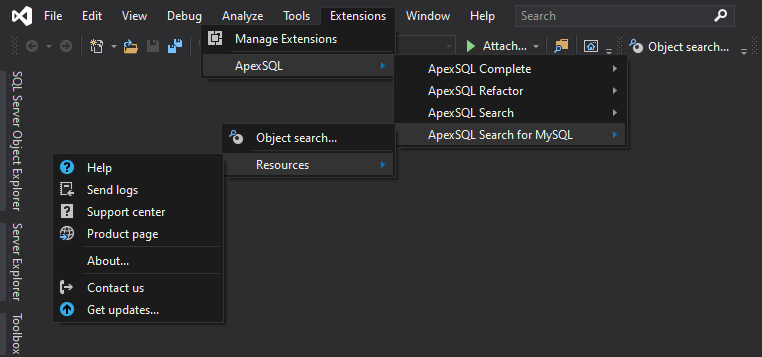 ApexSQL Search for MySQL main menu