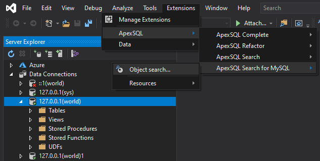 MySQL Object search command from ApexSQL Search for MySQL main menu