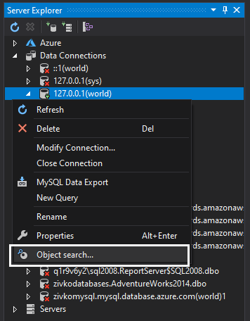 MySQL object search command from Server Explorer context menu