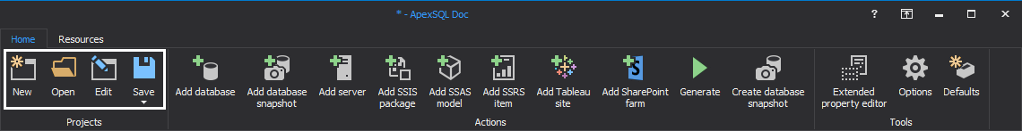 Open, Edit or Save project with ApexSQL Doc