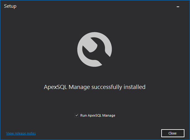 ApexSQL Manage successfully installed