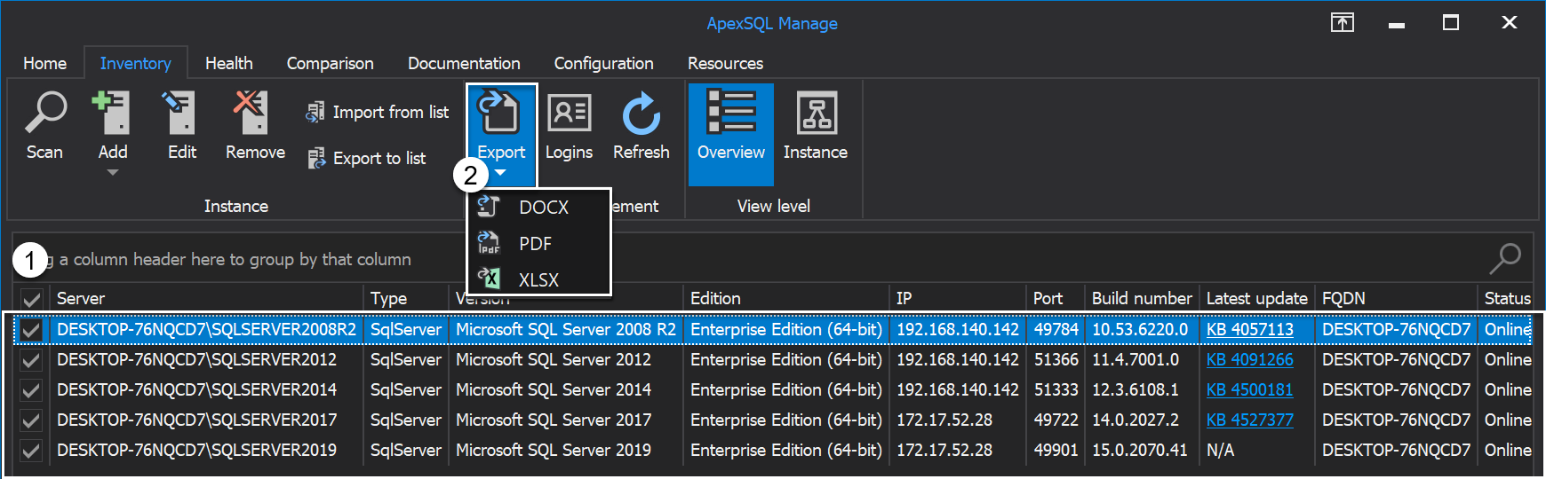 Export selected SQL Server instances from the grid